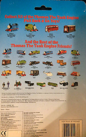 Rear view of ERTL Pull Back & Go packaging