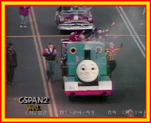 Thomas leads the Children's Parade in January 1993