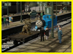 Thomas with the Lion of Sodor