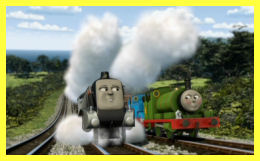 Thomas and Percy being goaded by Spencer