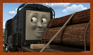 Diesel shunts the logs from the Docks