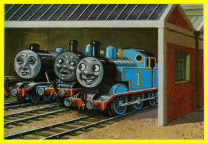 Thomas in the shed with Edward and Henry