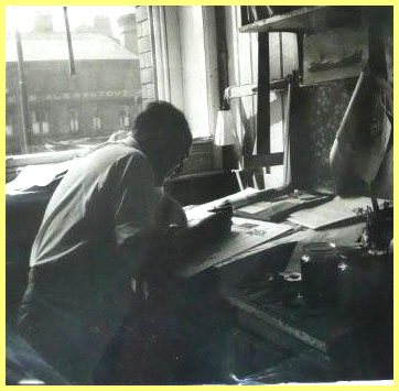 Edgar at the drawing board at IAS during the 1960s