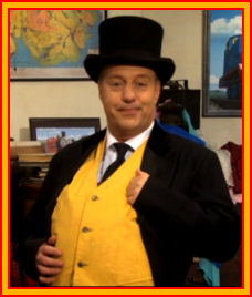 Mr. Perkins dresses up as the Fat Controller