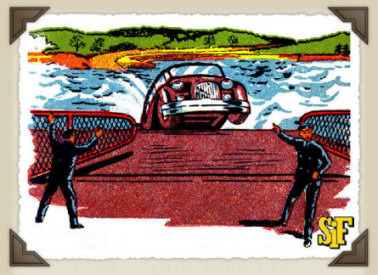 Mr. Lordly's car slips into the sea